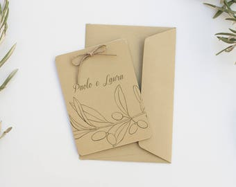 Olive Branch Wedding Invitation, Olive Leaves, Rustic Green Invitation Cards