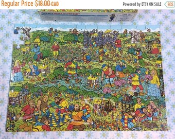 SUMMER SALE Vintage Where's Waldo The Unfriendly Giants Jigsaw Puzzle One Piece Missing Game Night Kids Search and Find