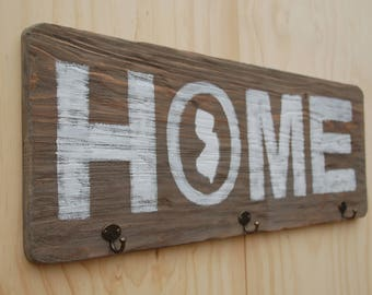 Rustic Home Sign with Hooks
