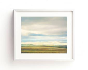 """landscape wall art, calming landscape photography, large wall art, large art, large landscape wall art, colorful prints - """"Farmland Plains"""""""