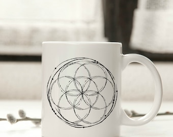 Seed of Life Mug | Boho, Seed of Life, Boho Mug, Shaman, Unique Mugs, Buddhism, Sacred Geometry, Gypsy, Shamanic, Totem, Goddess, Ancient