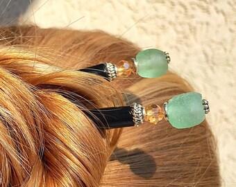 "Pair of 2 ""Daliah"" Tidal Hair Sticks.  Sea green Recycled Glass Bead. Free US Shipping."