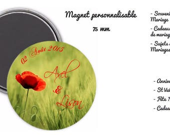 """magnet magnet 75 mm personalized - """"lovers or weddings"""""""