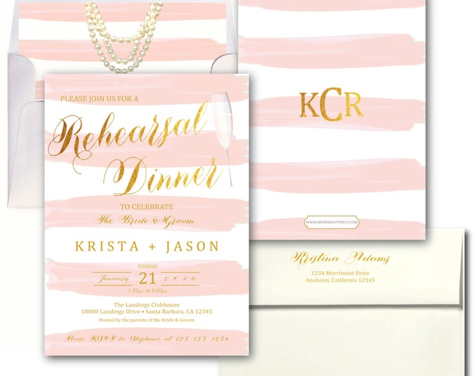 Pink and Gold Rehearsal Dinner Invitation, Pink Striped Rehearsal Dinner Invite, Unique rehearsal dinner - SANTA BARBARA COLLECTION