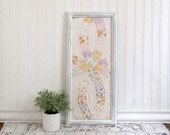 Framed Vintage Quilt, Framed Old Quilt Piece, Vintage Quilt in Frame, Country Wall Decor, Farmhouse Decor, Framed Cutter Quilt