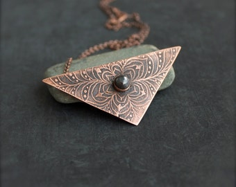 Grey Pyrite Stone Pendant Necklace - Floral Etched Copper, Oxidized Metalwork, Geometric Triangle, Bohemian Jewellery