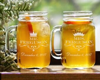 Engraved Mr & Mrs Mason Jar Set of 2, drinkware, wedding gift, engraved, bride and groom, 16 oz, customized, glass mug -gfyL1093271-S2