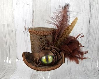 Dragon Eye Brown on Brown Large Mini Top Hat Fascinator, Alice in Wonderland, Mad Hatter Tea Party, Derby Hat, Dinosaur Hat, Eye Hat