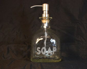 Soap Dispenser Upcycled from Patron Liquor Bottle, Recycled Patron Bottle, Upcycled Liquor Bottle, Sand Etched Liquor Bottle Soap Dispenser