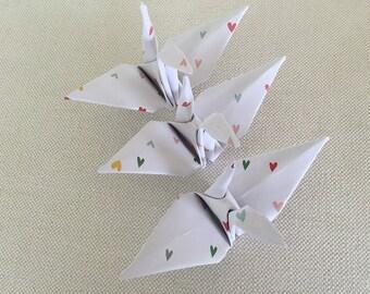 Wedding Decor / Origami Cranes / Paper Cranes - hearts 12 origami paper cranes origami decorations Origami wedding Modern wedding