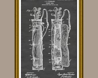 Golf Bag Poster, Golf Bag Print, Golf Bag Patent, Golf Decor, Golf Wall Art, Vintage Golf Art, Golfer Gift, Golf Art, Golf Clubs P258