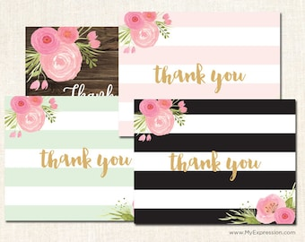 Stripes Watercolor Floral Thank You Cards in Black, Mint, Pink and Rustic Wood - Baby Shower Thank You Cards - Set of 24 with envelopes