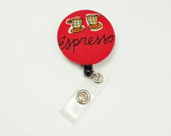 Retactable ID Badge Reel / ID Badge Holder / Name Badge Clip / Badge Pull / Button Badge Holder - Espresso Coffee