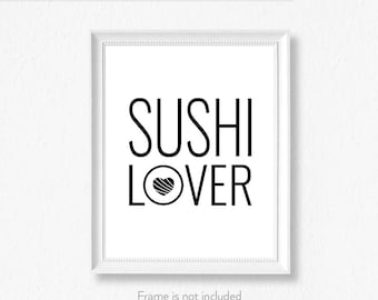 Foodie gift / Sushi Print / Pun / Food art / Cafe decor sign / Choice of colors /