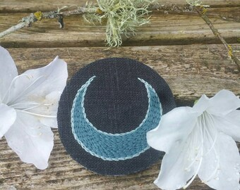 Hand Embroidered Crescent Moon Patch