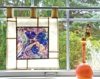 Cut Flowers ~ Bleached Art Batik ~ Stained Glass Look Fabric Pojagi Window Treatment / dorm / cafe / boudoir curtain