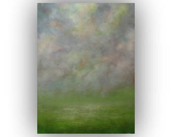 Abstract Sky Field and Clouds Oil Painting, Large 30 x 40 Green Gray and Yellow Landscape Painting, Original Palette Knife Art on Canvas