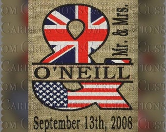 Mr and Mrs Ampersand Union Jack and American Flag Wall Art