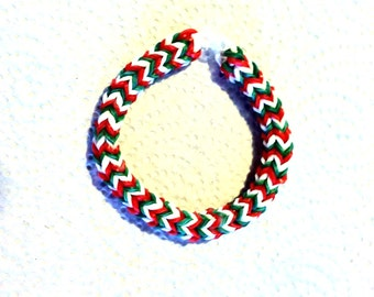 "Rainbow Loom Hexafish Bracelet CHRISTMAS CANDY, size 6 "".  Such A Cute Bracelet For a Child Or Young Teen.  Perfect For Christmas."