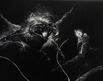 You shall not pass illustration scratchboard