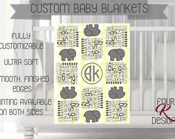 Baby Blanket, Personalized Baby Blanket, Photo Prop, Baby Shower Gift, Newborn Gift, Stat Blanket, Baby Boy Blanket, Baby Girl Blanket,