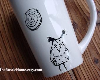 Hazel owl tall pottery coffee mug tea latte black and white kiln fired ceramic pottery mug owls birds dots 16 oz mug spiral moon whimsical