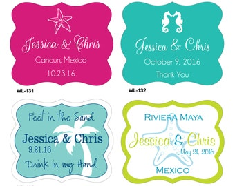 56 - 2.5 x 2 inch Die Cut Destination Beach Wedding Waterproof Labels - many designs to choose - change designs any color, wording etc
