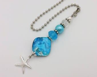 Ceiling Fan or Light Pull for a Aqua Blue Coastal Glam Home Decor.  Housewarming Present.  Starfish Fan Pull.