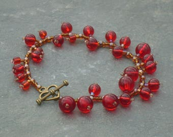 Redcurrants Bracelet, Red Berries Bracelet, in red crystal beads and topaz Czech seed beads, UK seller