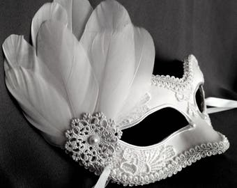 White Embroidery Masquerade Mask With Feathers - White Lace Venetian Mask - Feathered Masquerade Ball Mask