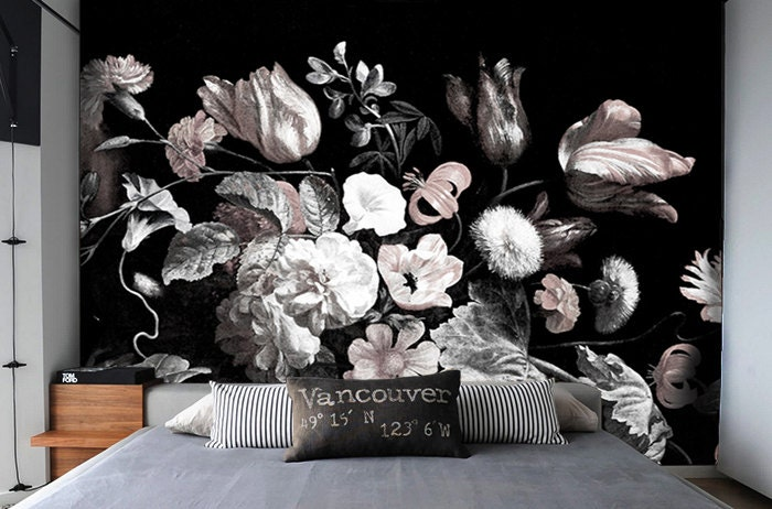 Dark floral removable wallpaper peel stick self adhesive for Floral wallpaper for walls