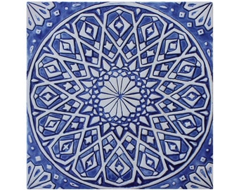 Moroccan outdoor wall art made from ceramic, moroccan tile glazed in blue and white, outdoor wall art, ceramic tile 30cm, #4, blue and white