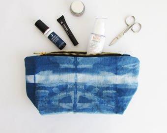 INDI 267 Shibori Cosmetic bag Travel organiser Luxury cosmetic bag Best travel gifts Gift for her UK Linen bag Shibori bag Indigo bag