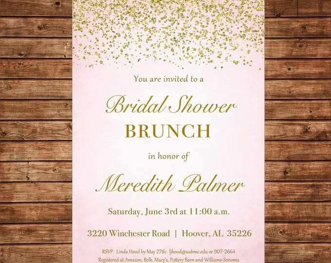 Invitation Pink Glitter Gold Wedding Bridal Baby Shower Birthday Party - Can personalize colors /wording - Printable File or Printed Cards
