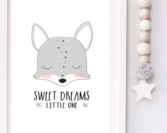 Sweet dreams little one Modern Monochrome Fox Nursery typography print