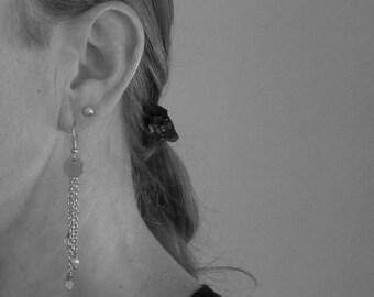 Dream catcher earrings, Czech glass beads, stainless steel and Sterling 925 silver finishing, dream catcher, dangling, long earrings