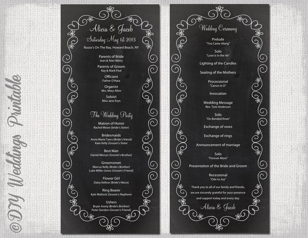chalkboard wedding program template chalk board programs black