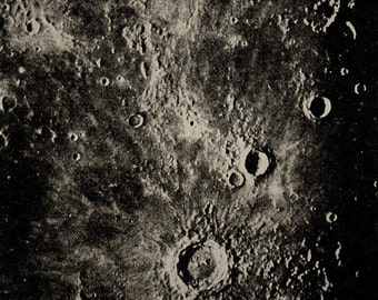 1900 SURFACE Of The MOON 73, Copernicus Eratosthenes, Original Vintage Space Astronomy Print