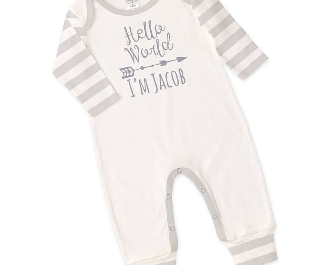 Personalized Newborn Coming Home Outfit, Monogrammed Newborn Outfit, Unisex Baby Outfit, Baby Boy Outfit, Baby Hello World Bodysuit TesaBabe