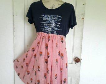 Upcycled-Dress-Medium/Large-Repurposed-Clothing-Artsy-Boho-Eco- Repurposed Dress