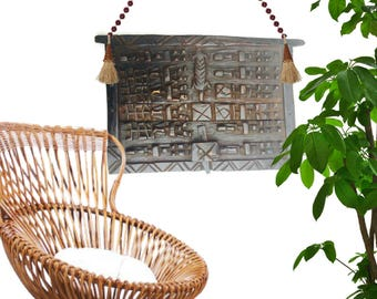 Vintage African Tribal Wall Art Wall Hanging Dogon Tribe Wood Carved Panel Wall Decor Granary Door Hand Carved Door African Tribe Primitive
