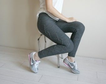 Charcoal  Knitted Stretch Tight  Pants Cable  Leggings  Christmas Gift Clothing Gift Outdoors Gift