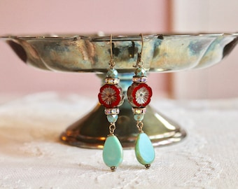 Ruby red and turquoise picasso bead layered earrings, rhinestone and bronze accents, boho chic earrings, Barcelona