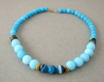 gemstone statement necklace, elegant necklace, blue statement necklace, blue necklace, light blue necklace, beaded necklace