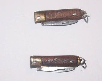 2x Vintage Miniature Wood & Brass Penknives 1""