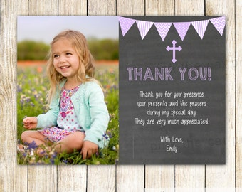 Baptism Thank You Card Note - Girl Christening First Communion Dedication Photo Card Chalkboard Thank You Card Lavender Printable