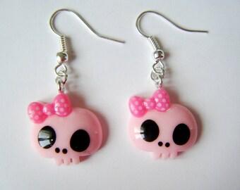 Earrings - skulls - pink