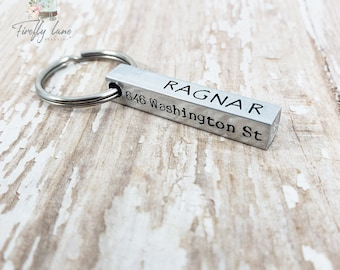 Hand stamped 4 sided bar dog tag in Aluminum / NEW FONT OPTIONS!! / dog id tag / dog tags for dogs / unique dog tags