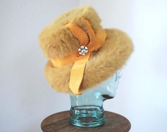 1960s Toscano Angora Hat/ 60s Yellow Orange Hat/ 60s Beehive Style Hat/ 60s Lampshade Hat
