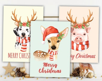 funny christmas, christmas cards, christmas cards set, animal christmas, cute christmas card, fun christmas card, merry christmas, xmas card